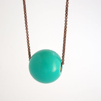 Turquoise wooden geometric single bead necklace, eco friendly jewelry, large bead necklace, copper chain necklace, minimal jewelry