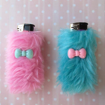 Pastel Kawaii Cute Lighter Cases Set, Best Friends, BFF, Fuzzy Furry Lighter Covers, Pastel Goth, Sweet Lolita, Bow Cabochons, Faux Fur
