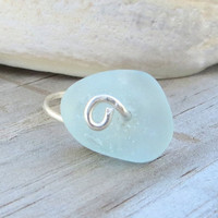 Sterling Silver Aqua Sea Glass  Ring