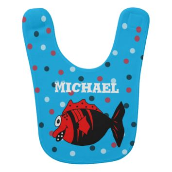 Funny and cute black and red fantasy fish baby bib