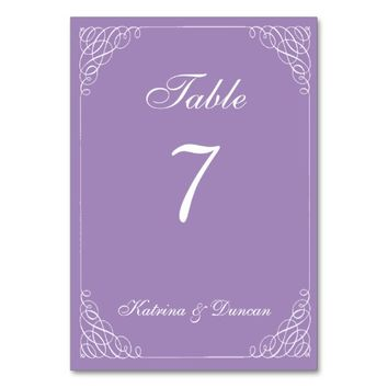 Swirl Purple Personalized Table Card