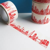London Skyline Decorative Sticky Tape, Red (50mm)