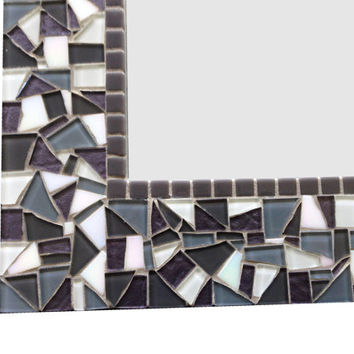 Gray and White Bathroom Mirror, Mosaic Wall Mirror