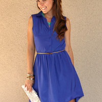 High-Low Collar Dress with Open Back