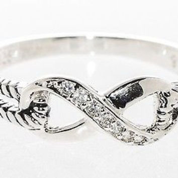 Infinity Ring Sterling Silver Clear CZ Cubic Zirconia