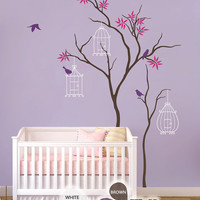 """Baby Nursery Wall Decals - Tree Wall Decal - Birdhouse Decal - Large: approx 86"""" x 51"""" - KC011"""