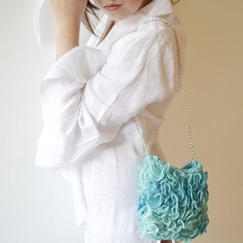 Turquoise Wedding bag Green teal Purse handknit by Notforeat