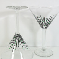 Martini Glasses Emerald Green Black Set of 2