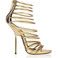 Venetian Gold Genuine Sheepskin Leather Stiletto Sandal