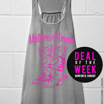 Cowgirl Boots Matron of Honor - Gray with Pink Flowy Racerback Tank