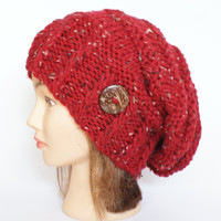 Red tweed slouch hat women - beanies hat - Slouch Beanie - Irish - chunky knit - Chunky Knit Accessory , Slouchy hat for women