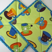 Pot Holders Coffee or Tea by PatchworkMountain on Etsy
