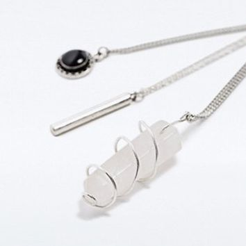 Stone Bar and Crystal Layering Necklace Pack in Silver - Urban Outfitters