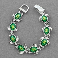 Silver Tone Green Turtle Tortoise Magnetic Clasp Charm Bracelet