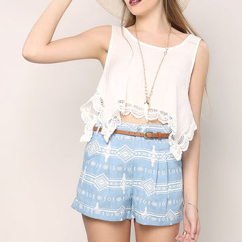 Belted Abstract Pattern Shorts