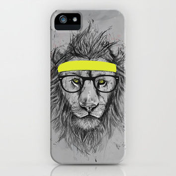 hipster lion iPhone Case by Balázs Solti | Society6