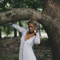 Stunning silk wedding dress with simple by Graceloveslace on Etsy
