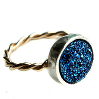 14k Gold-fill Twisted Ring with Blue Drusy