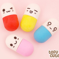 Buy Set of 4 Kawaii Mini Happy Pill Erasers at Tofu Cute