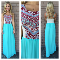 Mint Embroidered Tribal Bodice Maxi Dress