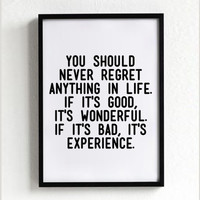 Wonderful Experience quote poster print, Typography Posters, Home decor, Motto, Handwritten, A3 poster, A4, words, inspirational, life motto