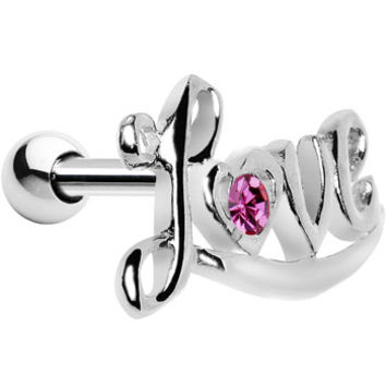 Silver 925 Pink Gem Cursive Love Cartilage Earring | Body Candy Body Jewelry