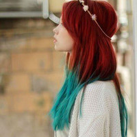 Handmade Mermaid Red Ombre Dip Dyed Hair Extensions, Tye Dye Tips, 20-22 inches long, Clip In Hair Extensions, Hippie Hair