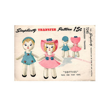 Simplicity 7245 Transfer Pattern Embroidered Felt Stuffed Dolls Uncut