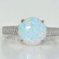 Beautiful Opal Round Ring White Gold Quality