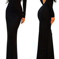Sexy Black Minimalist Backless Open Cutout Back Slip Jersey Long Maxi Dress SML