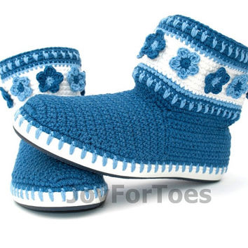 Crochet Boots Shoes Gzhel Inspired Jeans Blue White Boots Made to Order