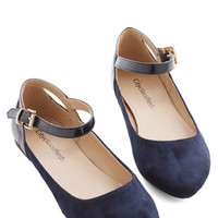 ModCloth Scholastic Ready to Impress Flat in Navy