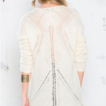 Cabled Back Sweater in Cream