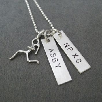 Cross Country or Track Sterling Silver RUN CHARM Personalized with NAME and SCHOOL - Choose Running Girl, 3 D Running Shoe or Flat Shoe Print Charm - Sterling silver pendants with Sterling Silver or Leather and Sterling Chain