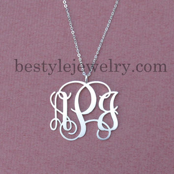 Silver Monogram Necklace - Monogram Necklaces - Personalized Jewelry - Fine Jewelry - Luxury Fashion - Unique Necklace
