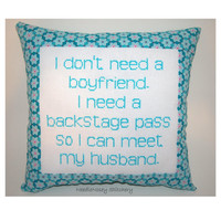 Funny Cross Stitch Pillow, Blue And Pink Pillow, Boyfriend Quote