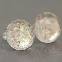 Fake Plugs : Pink and Gold Glitter Earrings, 12mm, Galaxy, ArtisanTree, Rose Gold
