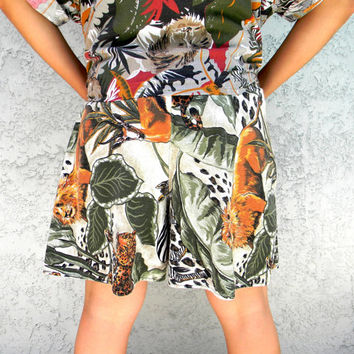 High Waisted Shorts - Vintage 80s Jungle Fever Cotton Shorts w Lion, Leopard, Zebra Print - 80's Party Costume - Size Medium Large M L