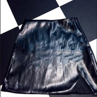 SWEET LORD O'MIGHTY! LEATHER KITTY SKIRT IN BLACK