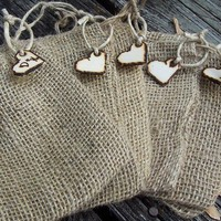 Burlap Wedding Favor Bags with Personalized Heart by GoRustic