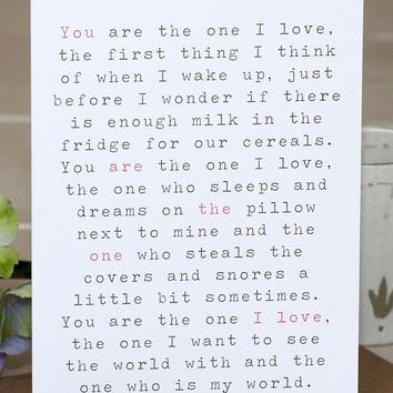 Valentine's Day Card - 'The One I Love'