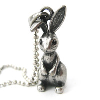 Bunny Rabbit 3D Animal Pendant Necklace in Silver | DOTOLY