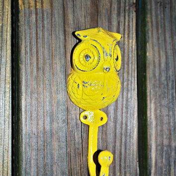 """Bright Yellow """"OWL"""" Wall Hook by AquaXpressions"""