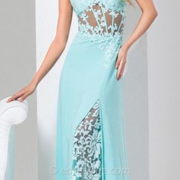 Peek-A-Boo Lace Prom Gown by Tony Bowls Le Gala