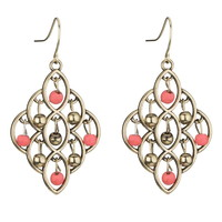 Gold-Color And Coral Beaded Kite Earrings - Coral