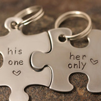Custom Hand Stamped Couples His/Her Puzzle by SayWhatCreations