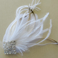 Gatsby Headpiece, Great Gatsby Wedding,1920s, Ivory, White, Bridal Head Piece, Peacock Feather, Fascinator,