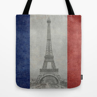 Distressed National Flag of France with Eiffel Tower insert Tote Bag by Bruce Stanfield