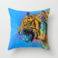 Angry Tiger Throw Pillow by Olechka | Society6