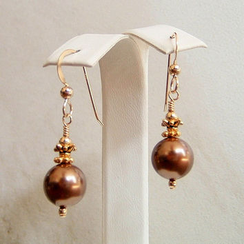 Brown 10MM Round Shell Pearl Earrings 14K Gold Filled Dangle Handmade